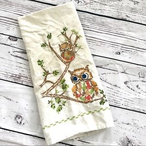 Vintage embroidered owls linen kitchen tea towel